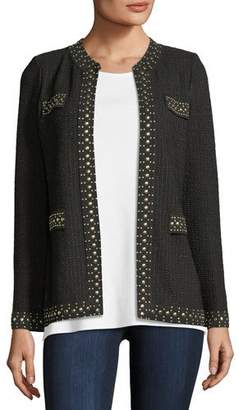 Misook Stud-Trim Knit Jacket, Petite
