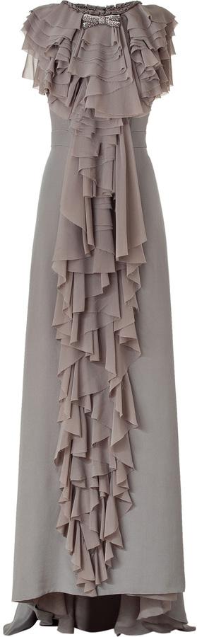 Viktor & Rolf Silver Grey Ruffle Open Hem Silk Gown