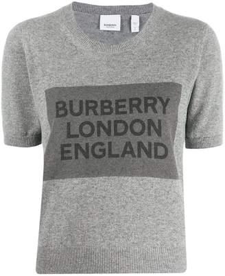 Burberry cashmere logo detail top