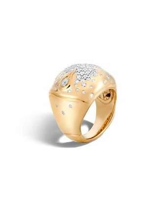 John Hardy Bamboo 18k Gold Diamond Dome Ring, Size 7