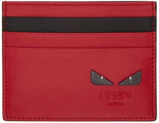 Fendi Red and Black Bag Bugs Card Holder
