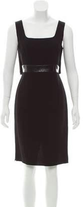 Carmen Marc Valvo Wool Leather-Trimmed Dress