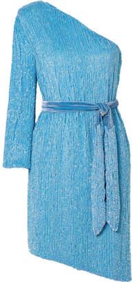 retrofete Shy One-shoulder Velvet-trimmed Sequined Chiffon Dress - Light blue