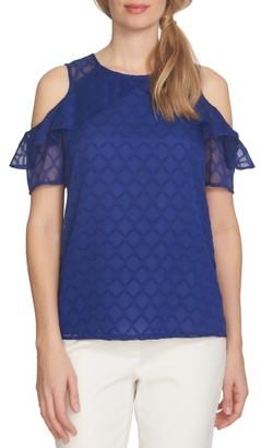 Women's Cece Cold Shoulder Diamond Clip Blouse $89 thestylecure.com