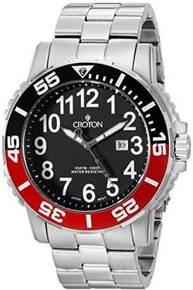 Croton Men's CA301280BKRD Analog Display Quartz Silver Watch