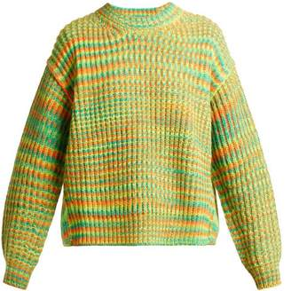 Acne Studios Oversized Striped Sweater - Womens - Green Multi
