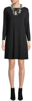 Eileen Fisher Twisted-Back Viscose Jersey Long-Sleeve Dress, Plus Size