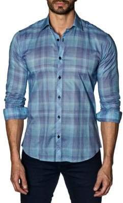 Jared Lang Woven Plaid Trim-Fit Button-Down Shirt