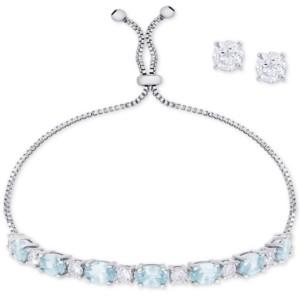 a80795ee8 Macy's Simulated Blue Topaz Slider Bracelet & Cubic Zirconia Stud Earrings  Set In Fine Silver-