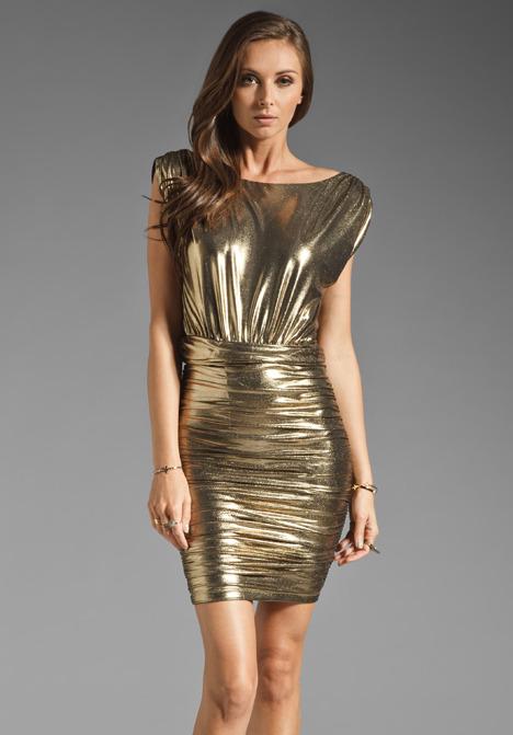 Alice + Olivia Maisie Boatneck Ruched Skirt Dress