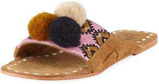 Figue Noona Embroidered Pompom Slide