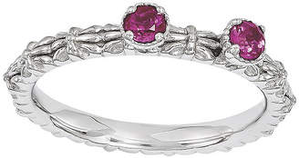 JCPenney FINE JEWELRY Personally Stackable Lab-Created Ruby 2-Stone Floral Band Ring