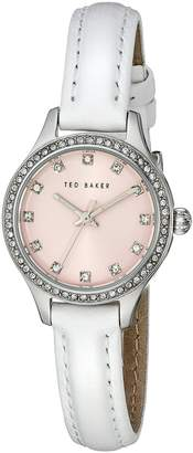Ted Baker Women's 10023509 Glam Stainless Steel Watch With White Leather Band