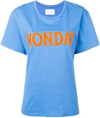 Alberta Ferretti Monday embroidered slogan T-shirt