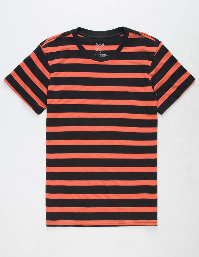 Blue Crown Simple Stripe Black & Orange Mens T-Shirt