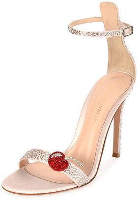 Gianvito Rossi Cherry Portofino Ankle-Wrap 105mm Sandal, Pink $1,995 thestylecure.com