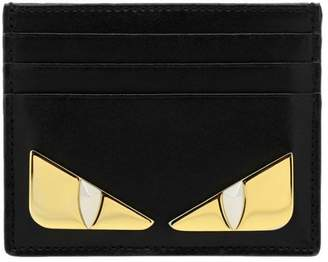 Fendi Wallet Monster Eyes Credit Card Holder In Smooth Leather With Maxi Metallic Eyes Bag Bugs
