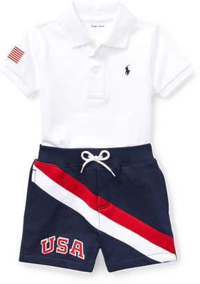 Ralph Lauren USA Short-Sleeve Polo w/ Matching Shorts, Size 9-24 Months