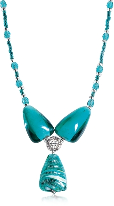Antica Murrina Marina 3 - Turquoise Green Murano Glass and Silver Leaf Pendant Necklace $85 thestylecure.com