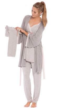 Olian Olianaternity Anne Stripes 4-Piece Nursing PJ Set with Baby Outfit