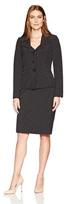 Le Suit Women's Printed Dot Twill 3 Button Skirt Suit
