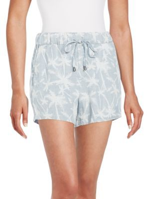 Splendid Pinstriped Palm Tree Drawstring Shorts