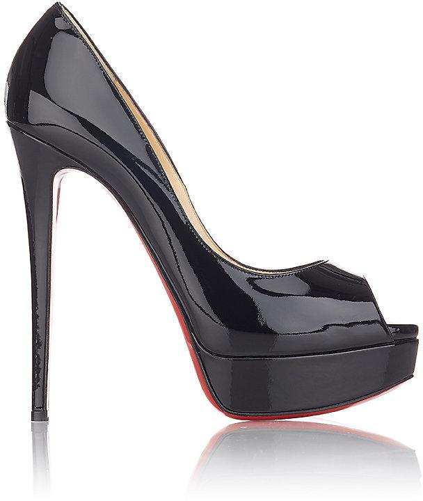 Christian Louboutin Women's Lady Peep Platform Pumps-Black