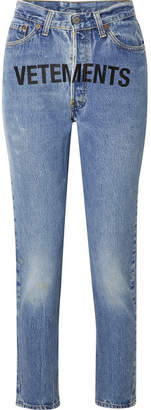 Vetements Levi's Printed Mid-rise Straight-leg Jeans - Mid denim