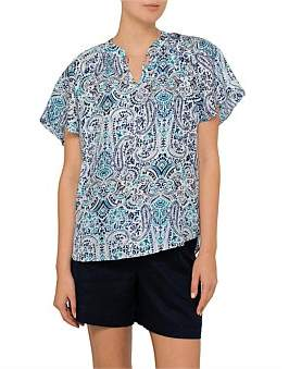 David Jones Paisley Print Silk Blouse