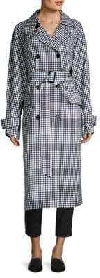 Tibi Long Gingham Double Breasted Suiting Coat