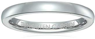 Triton Men's 3mm Plain White Domed Comfort Fit Classic Wedding Band
