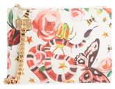 Sondra Roberts Floral & Snake Print Faux Leather Chain Wristlet