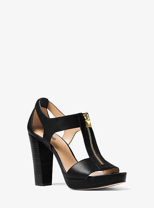 Michael Kors Berkley Lock Leather Platform Sandal