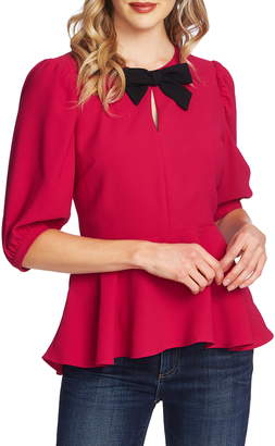CeCe Bow Neck Peplum Blouse