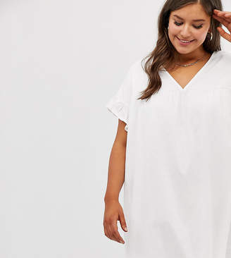 Asos DESIGN Curve mini reversible cotton slub smock dress