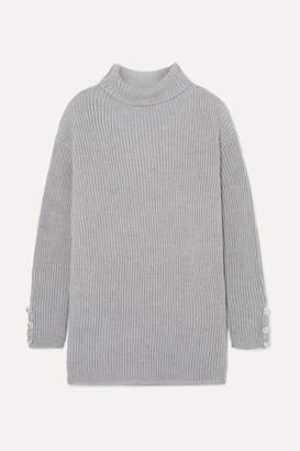Max Mara Ribbed Wool Turtleneck Sweater - Gray