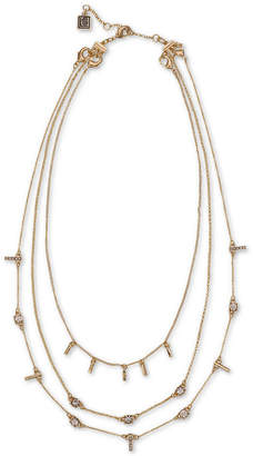 """Laundry by Shelli Segal Gold-Tone Crystal & Bar Layered Collar Necklace, 16"""" + 2"""" extender"""