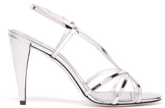 Givenchy Mirrored Leather Slingback Sandals - Womens - Silver