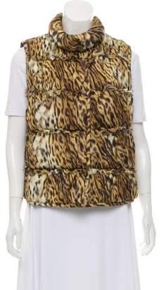 Oscar de la Renta Silk Animal Print Vest