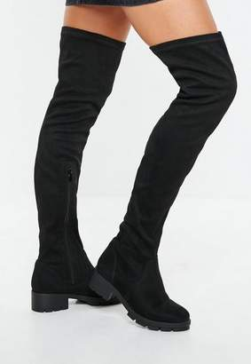 Missguided Black Knee High Cleated Sole Boots