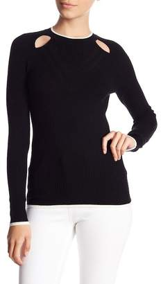 Minnie Rose Cutout Ribbed Wool Blend Sweater