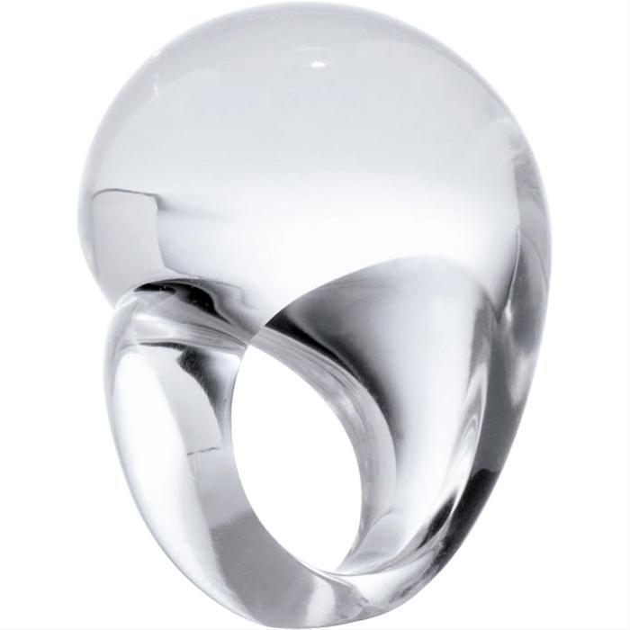 Clear Asymmetric Dome Ring by Patricia von Musulin
