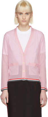 Thom Browne Pink Relaxed Fit V-Neck Cardigan