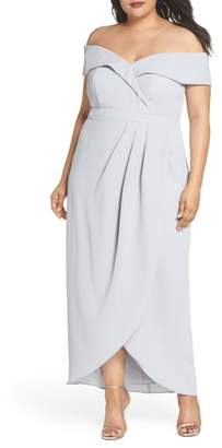Xscape Evenings Off the Shoulder Side Pleat Gown