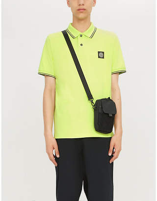 Stone Island Mens Lime Yellow Contrast Trim Stretch Cotton Piqué Polo Shirt