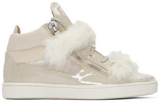 Giuseppe Zanotti Grey Patent and Velvet Brek Mid-Top Sneakers