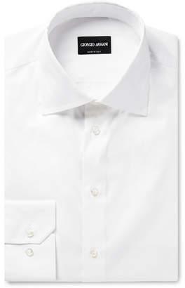 Giorgio Armani Slim-Fit White Cotton-Poplin Shirt