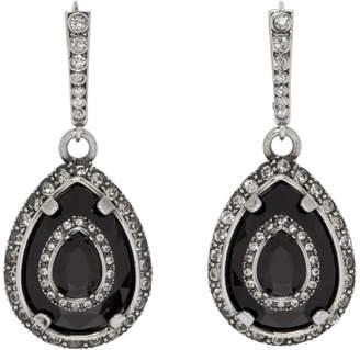 Alexander McQueen Silver and Black Small Teardrop Earrings