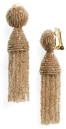 Oscar de la Renta Short Beaded Tassel Drop Earrings