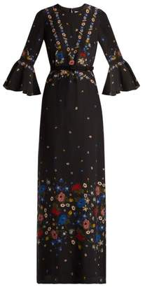 Erdem Linzea Fluted Sleeve Silk Dress - Womens - Black Multi
